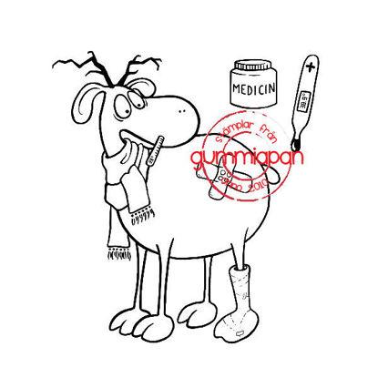 Afbeeldingen van Zieke herten -stempel met stans - Gummiapan - (normaal €14,50)