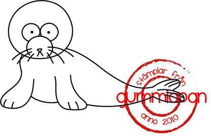Afbeeldingen van Zeehond -stempel met stans - Gummiapan - (normaal €6,50)