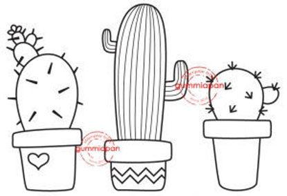 Picture of Cactussen -stempel met stans - Gummiapan - (normaal €7,50)