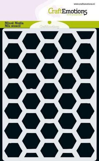 Afbeeldingen van CraftEmotions MM Mix stencil - Hexagon A6
