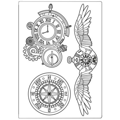 Stamperia Mixed Media Mould A5 Sir Vagabond Clocks and Wings