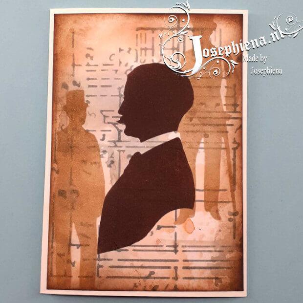 Voorbeeld gemaakt met Man silhouet - Stencil van Josephiena`s