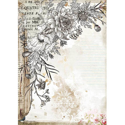 Stamperia Rice Paper A4 Romantic Journal Stylized Flower