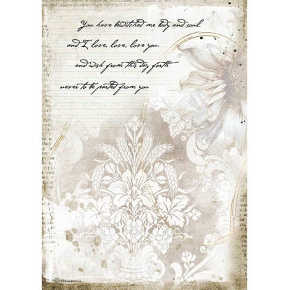 Stamperia Rice Paper A4 Romantic Journal Manuscrips