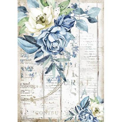 Stamperia Rice Paper A4 Romantic Sea Dream Blue Flower