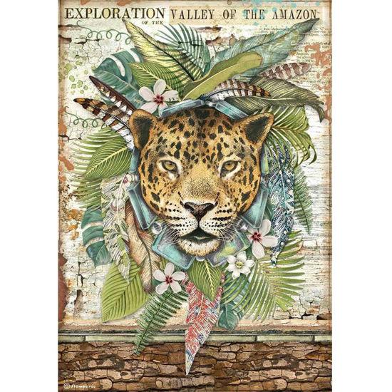 Stamperia Rice Paper A4 Amazonia Jaguar