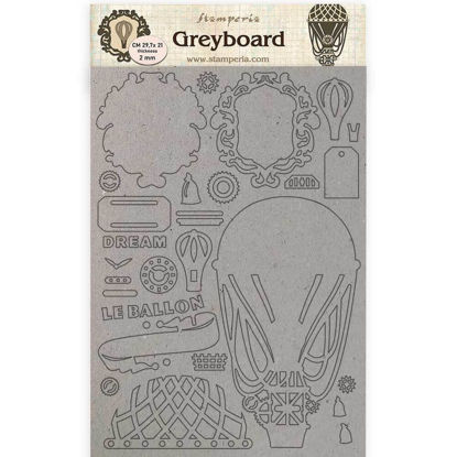 Stamperia Greyboard A4 Voyages Fantastiques Air Baloon