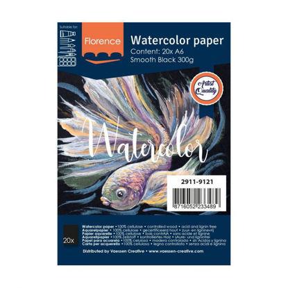 Florence • Aquarelpapier smooth Black A6 20pcs 300g